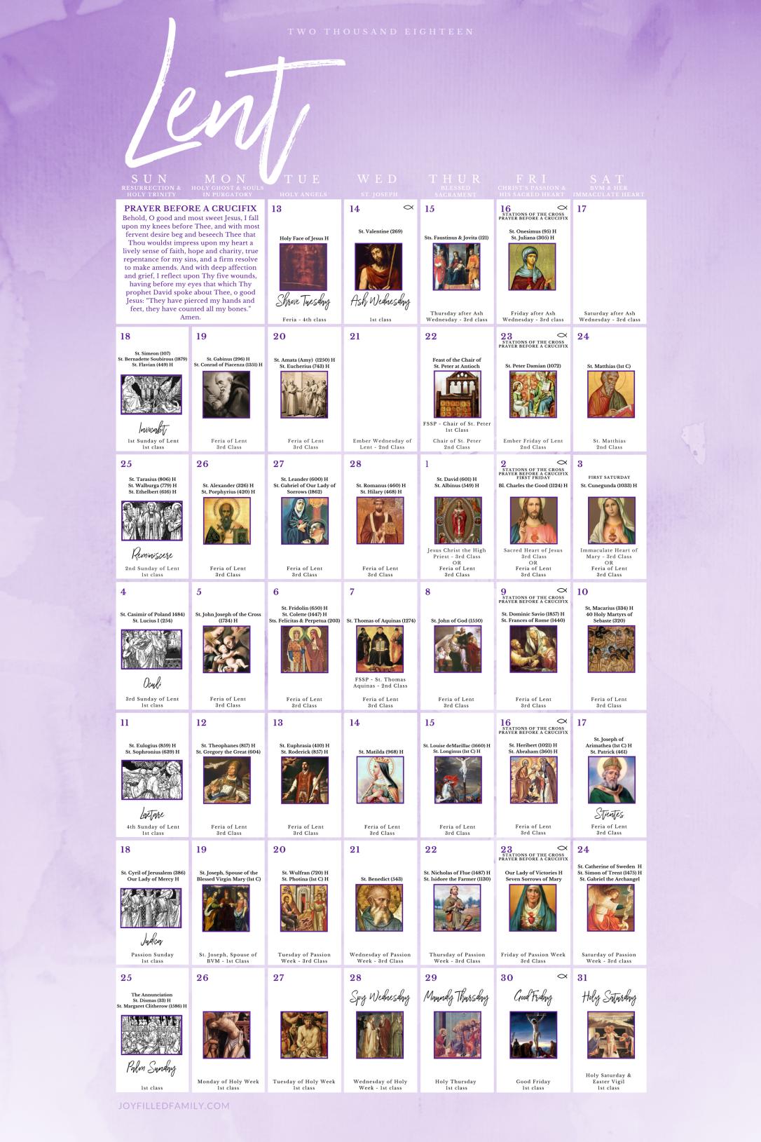 Lenten Calendar 2018 - 2.14.18 - 3.31.18 - JOYfilledfamily